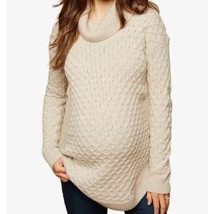 NWT Motherhood Maternity Cowl Neck Sweater Cream M
